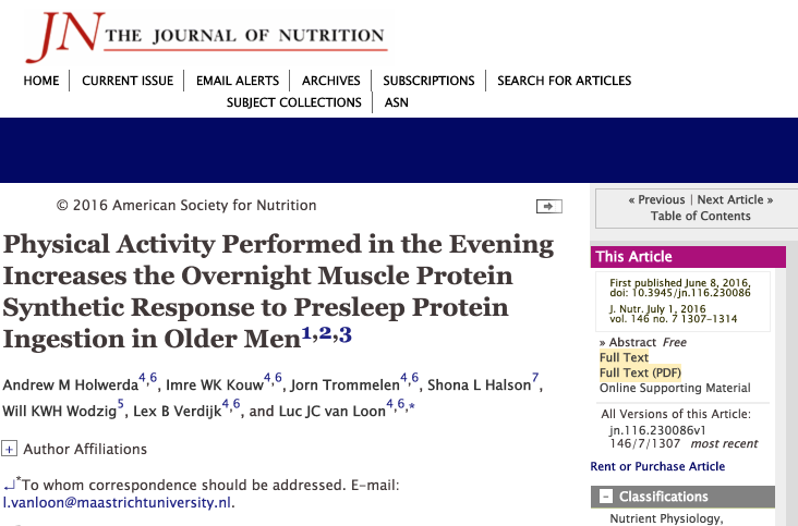 Physical Activity Performed in the Evening Increases the Overnight Muscle Protein Synthetic Response to Presleep Protein Ingest… 2016-12-18 09-58-47